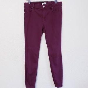 Ann Taylor LOFT maroon jean leggings sz 12